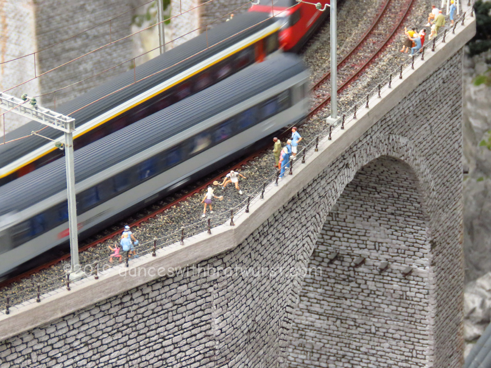 Model train on a high bridge