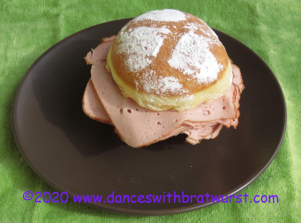 A jelly donut with Leberkäse